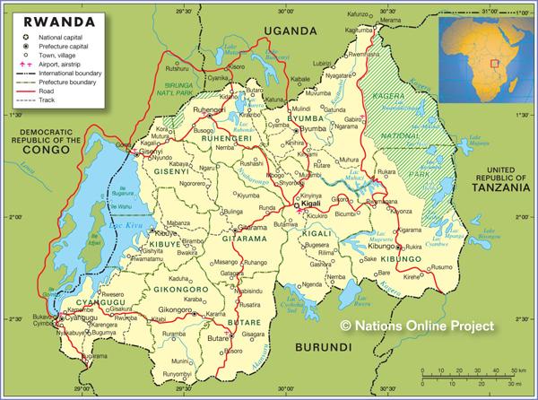 a map of rwanda. Map of Rwanda
