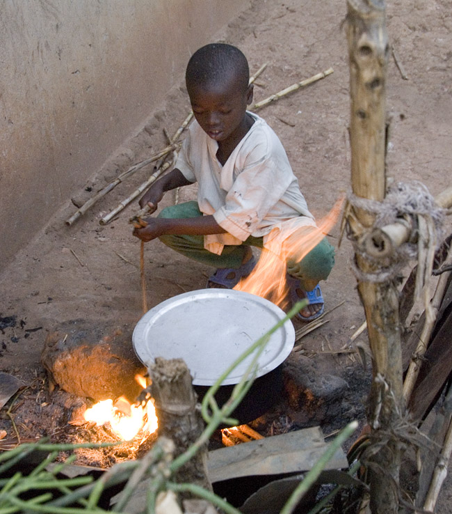 Boy boils water. 10-01-07
