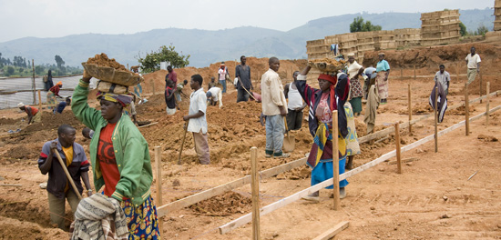 Foundation construction, Butaro hospital, Rwanda
