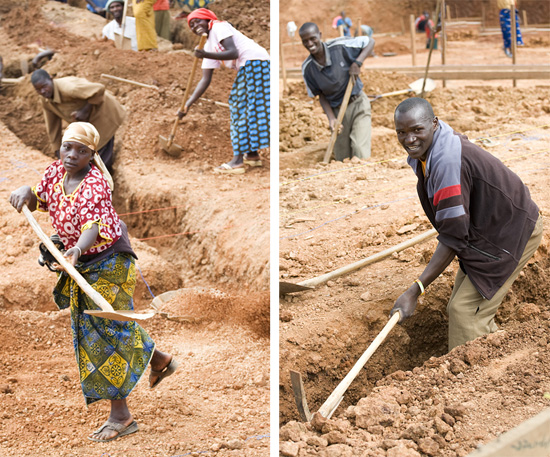 Workers digging foundation, Butaro hospital, Rwanda